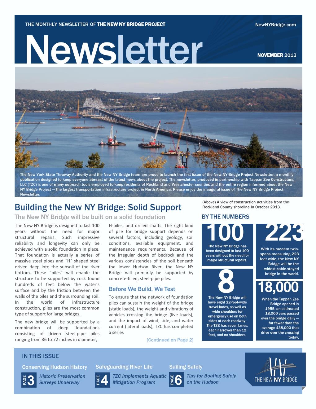 Inaugural Newsletter of the New NY Bridge – Monthly Newsletter